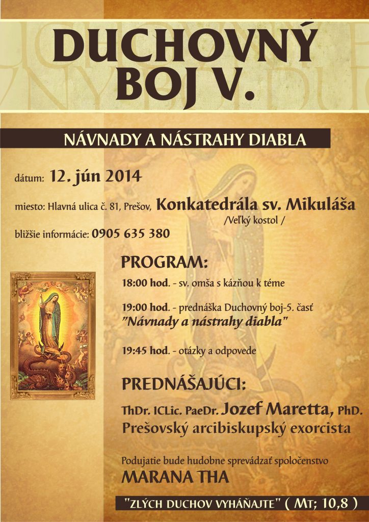 Prednáška o. Marettu- Duchovný Boj: Už je to tu!